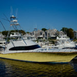 Yellow Betram flying bridge yacht in Martha's Vinyeard