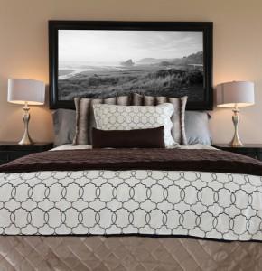 mark medeiros photography, black framed image in bedroom.